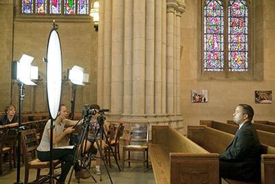 Dean Powery being interviewed