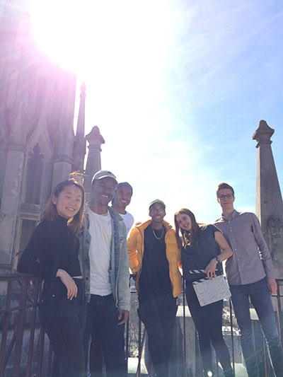 Students on top of the Chapel tower