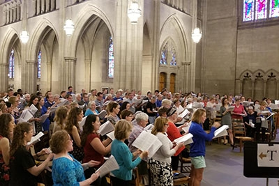 Former Chapel Choir members gather to sing on Reunions Weekend