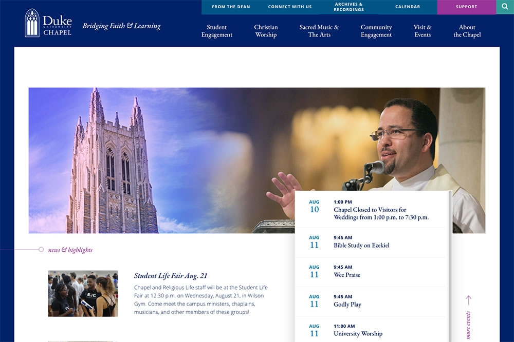 Duke Chapel homepage